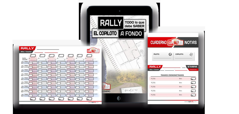 Pack libro copiloto de rally, tabla de tiempos, portada cuaderno notas